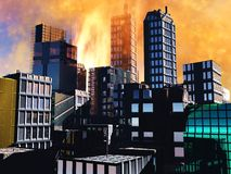 Armageddon scene in city. Armageddon  scene in city after a war or a natural disaster Stock Image