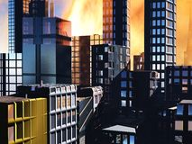 Armageddon scene in city. Armageddon  scene in city after a war or a natural disaster Royalty Free Stock Photography