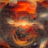 Armageddon sky. Abstract painting. Sunblast Armageddon. Red dawn sky royalty free illustration