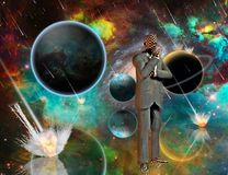 Armageddon Thoughts. Planetary Armageddon. Massive meteorite - asteroid shower destroy planets. Thinking businessman. Human elements were created with 3D royalty free illustration