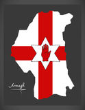 Armagh Northern Ireland map with Ulster banner national flag Royalty Free Stock Images