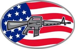 Armalite M-16 Colt AR-15 assault rifle flag. Illustration of  an Armalite M-16 Colt AR-15 assault rifle with American stars and stripes flag set inside ellipse Stock Images