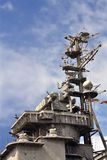 Armaments and antenna complex of the cruiser Stock Images