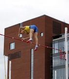 ARMAND DUPLANTIS from Sweden win pole vault event on IAAF World U20 Championship Tampere, Finland 14th July, 2018. royalty free stock image