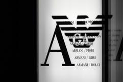 Armani Art und Weisezeichen Stockbild