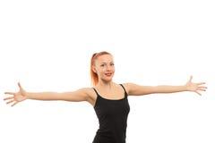 armar öppnar den breda kvinnan Arkivfoton