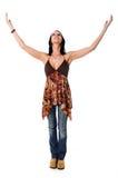 armar lyftte kvinnan Arkivbild