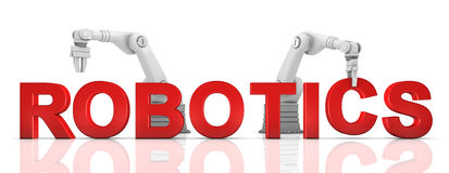 armar som bygger industriellt robotic roboticsord Royaltyfria Foton