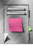 Armario con la nota pegajosa Imágenes de archivo libres de regalías