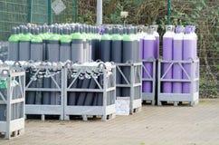 Armario de la botella de gas una fábrica del gas en Hattingen Imágenes de archivo libres de regalías