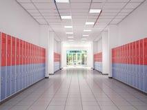 Armarios en el vestíbulo de la High School secundaria Fotografía de archivo libre de regalías