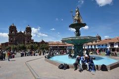 armas cusco de depth作用域重点狭窄附注秘鲁广场有选择性的班次掀动通过 免版税库存图片