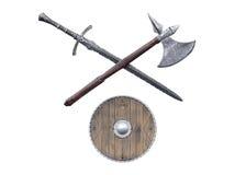 Armas de Viking isoladas no fundo branco Fotografia de Stock Royalty Free
