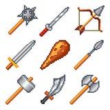 Armas del pixel para el sistema del vector de los iconos de los juegos stock de ilustración
