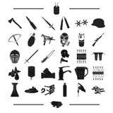 Armas, exército, uniforme e o outro ícone da Web no estilo preto malha, parafuso, ferramentas, ícones na coleção do grupo ilustração do vetor