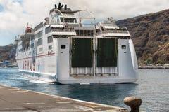Armas ferry docking at La Palma Harbor Royalty Free Stock Photo