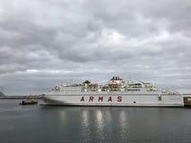 Armas ferry in the harbour. Of Santa Cruz de Tenerife Royalty Free Stock Photo