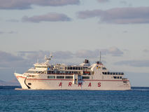 Armas ferry. Large Armas ferry carrying cars and passengers arriving sailing between the port of Playa Blanca in Lanzarote and Corralejo in Fuerteventura, Canary Stock Photo