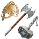 Armas, hacha, martillo y casco históricos stock de ilustración