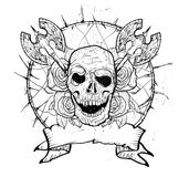 Armas medievais crânio e rosas Fotos de Stock