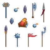 Armas medievais dos desenhos animados Ícones do jogo ilustração stock