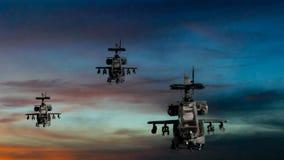 Armas militares que voam com céu dramático ilustração royalty free