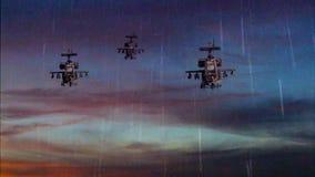 Armas militares que voam com céu dramático ilustração do vetor