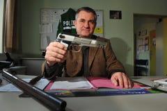 Armas y munición confiscados foto de archivo libre de regalías