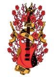 Armas y rosas ilustración del vector