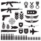 Armas y sistema de los militares Ametralladoras sub, pistola e iconos negros de las balas aislados en el fondo blanco Symbolics e stock de ilustración