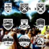 Armatniego sklepu odznak i logotypów wektoru set Zdjęcia Royalty Free