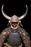 Armatura del samurai sul nero con il percorso di residuo della potatura meccanica Fotografia Stock Libera da Diritti