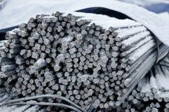 Armatura nuovissima Rinforzo posto Lavoro della preparazione del tondo per cemento armato Primo piano fotografia stock
