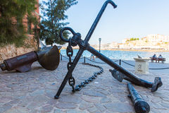 Armature and anchor Greece, Chania, Crete. Stock Photo