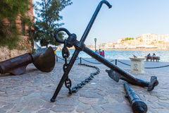 Armature and anchor Greece, Chania, Crete.Traditional pictorial street Royalty Free Stock Images