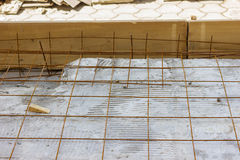 Armature grids in a concrete floor Royalty Free Stock Photo