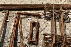 Armature, reinforcing steel for concrete. Various shapes. Royalty Free Stock Photo