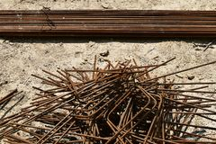 Armature, reinforcing steel for concrete. Various shapes. Royalty Free Stock Images