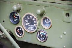 Armaturenbrett des Jeeps der AMERIKANISCHEN Armee Lizenzfreies Stockbild