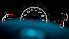 Armaturenbrett-Geschwindigkeitsmesser-Licht-Anzeige stockbilder