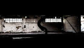 Armazém abandonado - preto e branco Fotos de Stock Royalty Free