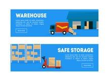 Armazém, moldes horizontais grupo das bandeiras do armazenamento seguro, frete, transporte da carga, armazenamento dos bens, móbi ilustração do vetor
