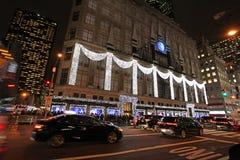 Armazém na noite, New York de Macy, EUA Imagem de Stock