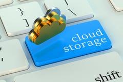 Armazenamento da nuvem no botão do teclado Fotos de Stock