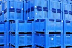 Armazenamento das caixas plásticas Fotografia de Stock