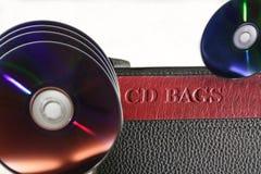 Armazenamento de Digitas e caixa de couro do computador CD& DVD foto de stock royalty free