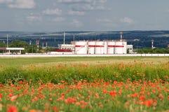 Armazenamento de petróleo no campo da papoila Fotos de Stock