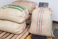 Armazenamento de sacos de café Fotografia de Stock