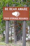Armazenamento do alimento para o sinal do urso Foto de Stock