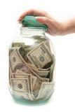 Armazene o dinheiro no banco Fotografia de Stock Royalty Free